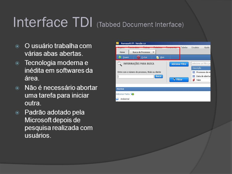 Interface TDI (Tabbed Document Interface)