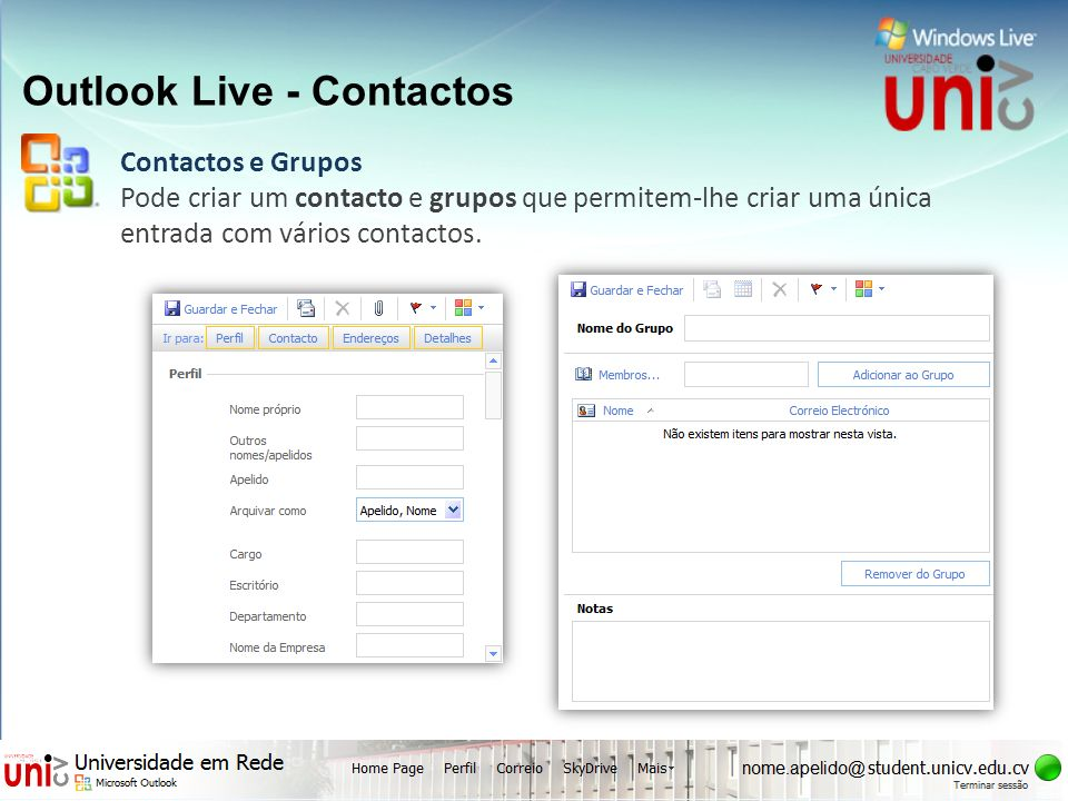 Outlook Live - Contactos