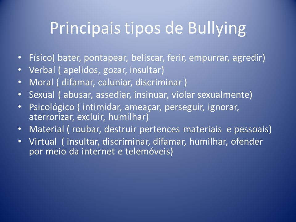 Principais tipos de Bullying