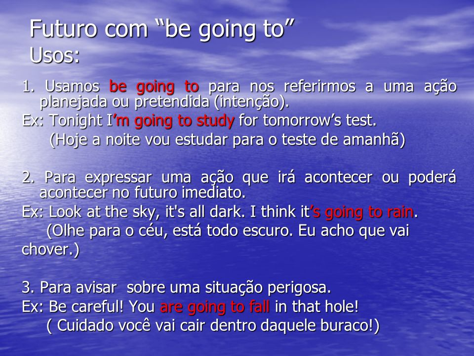 Futuro com be going to Usos: