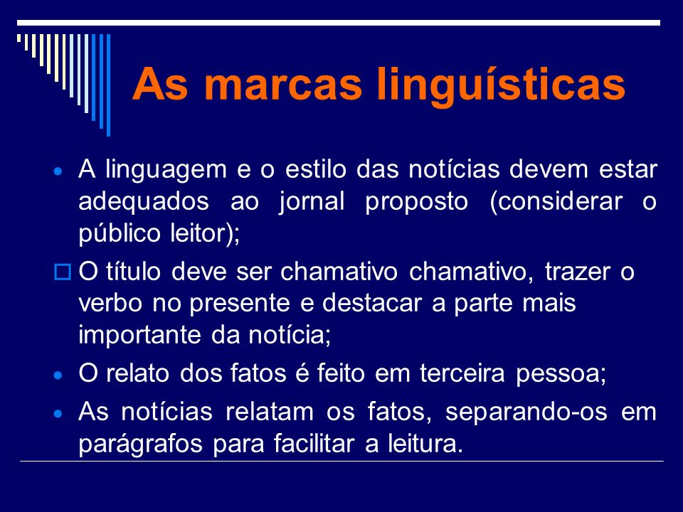 As marcas linguísticas