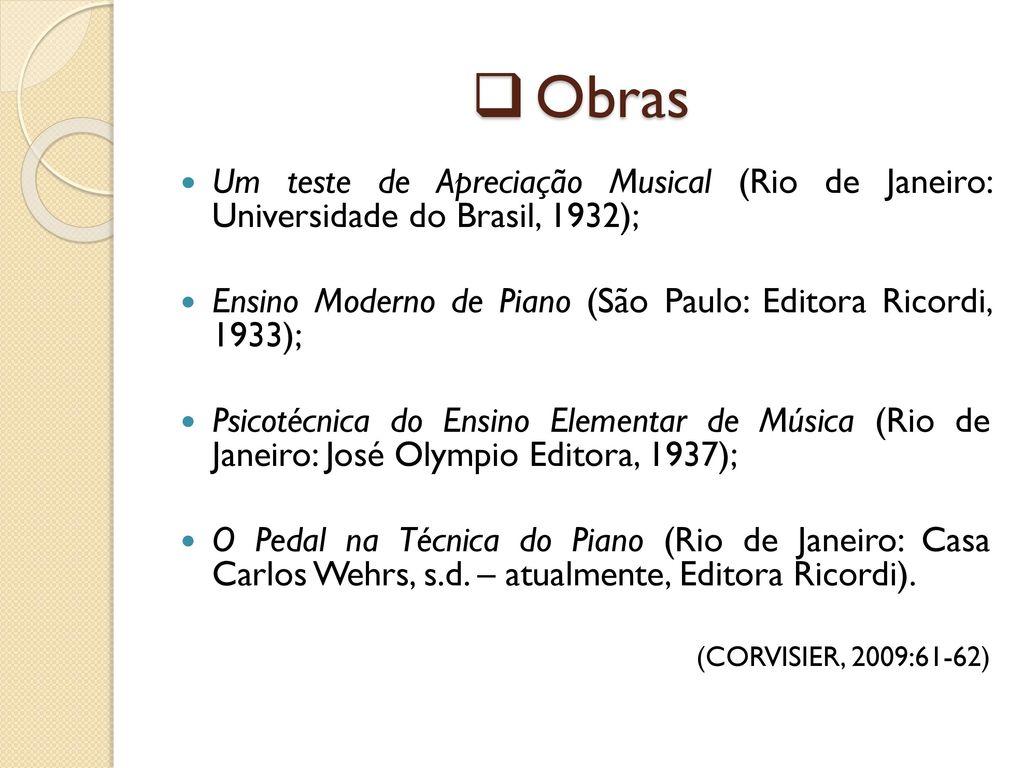 0128f65db2e Obras Um teste de Apreciação Musical (Rio de Janeiro  Universidade do Brasil