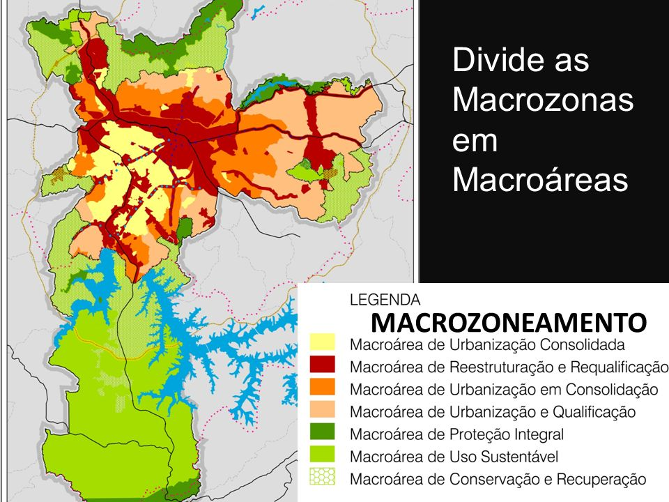 Divide as Macrozonas em Macroáreas