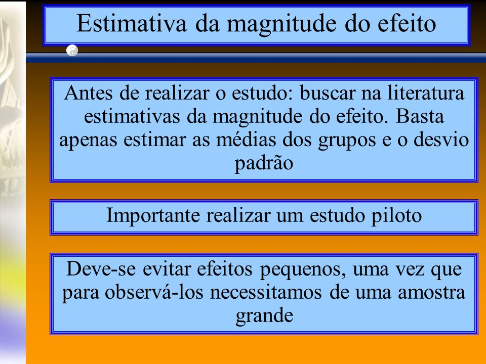 Estimativa da magnitude do efeito