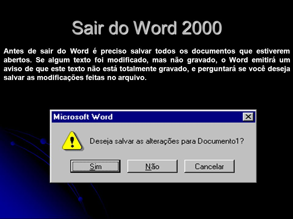Sair do Word 2000