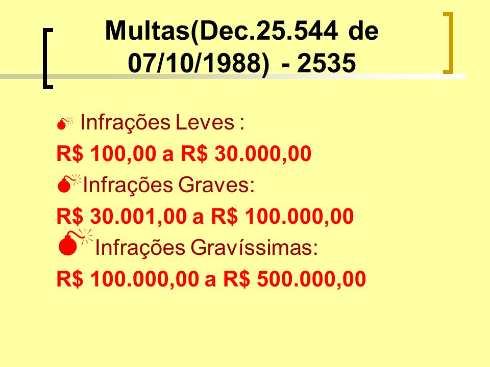 Multas(Dec de 07/10/1988) Infrações Leves :