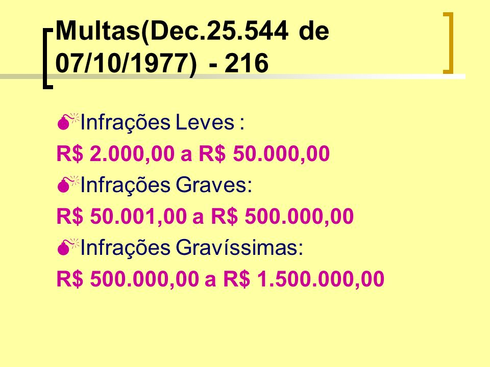 Multas(Dec de 07/10/1977) Infrações Leves :
