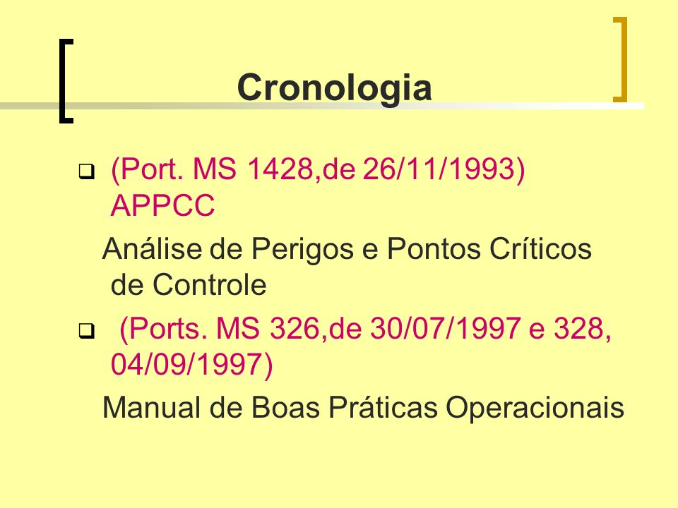 Cronologia (Port. MS 1428,de 26/11/1993) APPCC