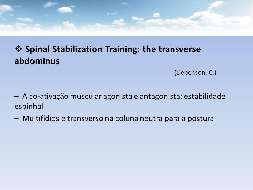Spinal Stabilization Training: the transverse abdominus