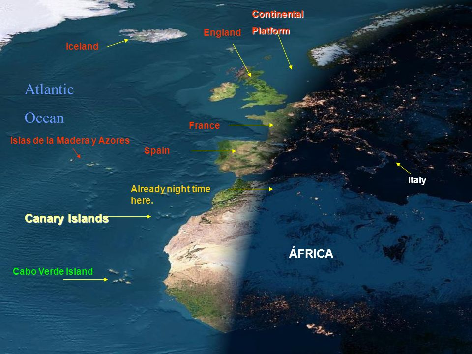 Atlantic Ocean Canary Islands ÁFRICA Continental Platform England