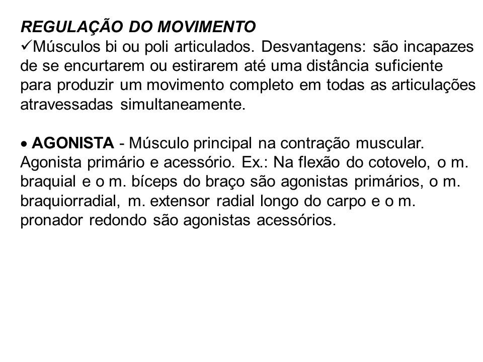 REGULAÇÃO DO MOVIMENTO