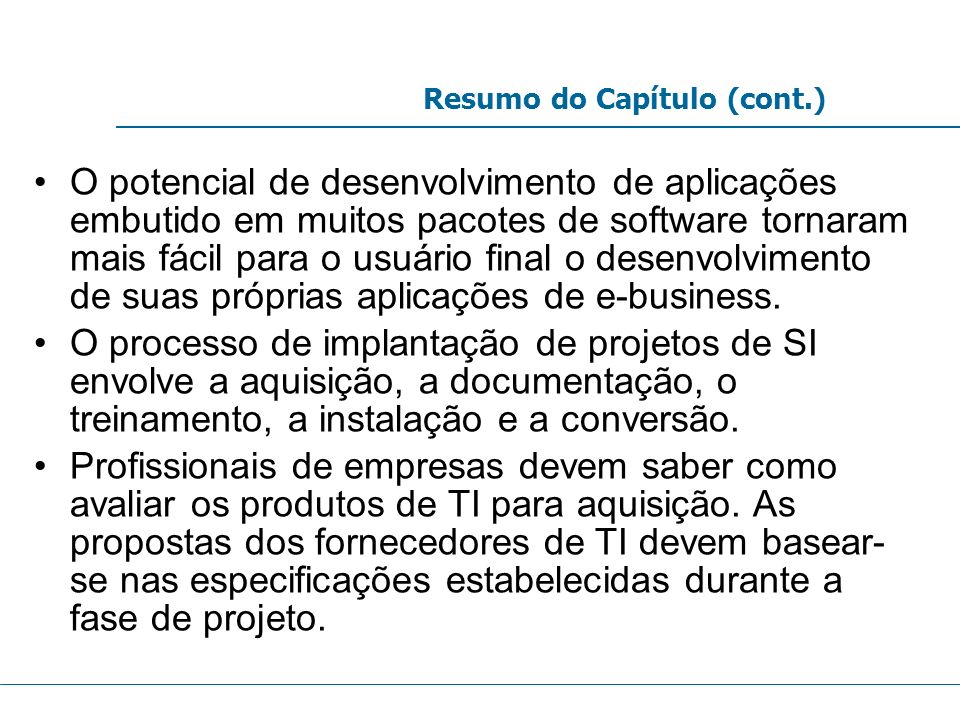 Resumo do Capítulo (cont.)
