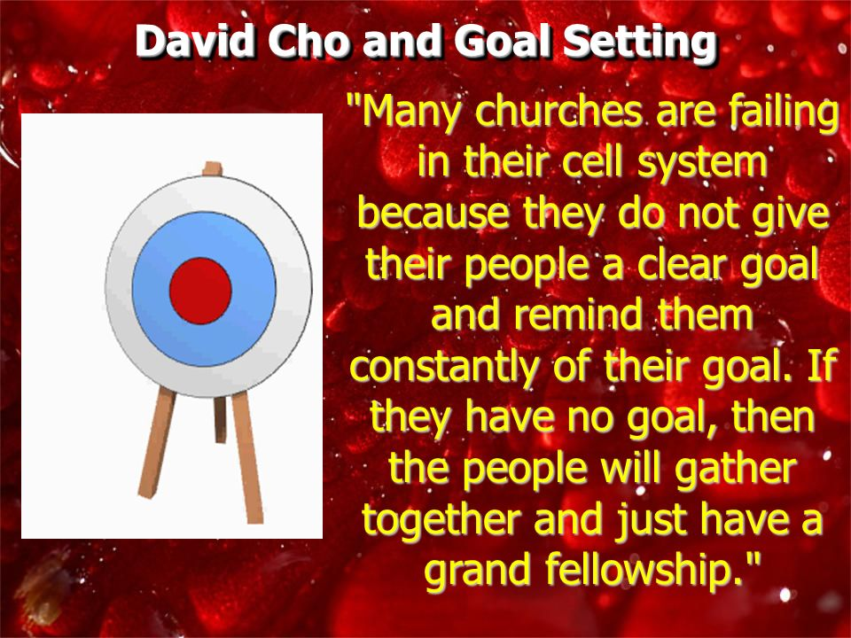 David Cho and Goal Setting