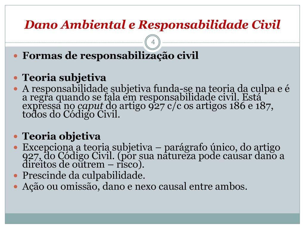 tutela civil ambiental (dano ambiental e responsabilidade civildano ambiental e responsabilidade civil