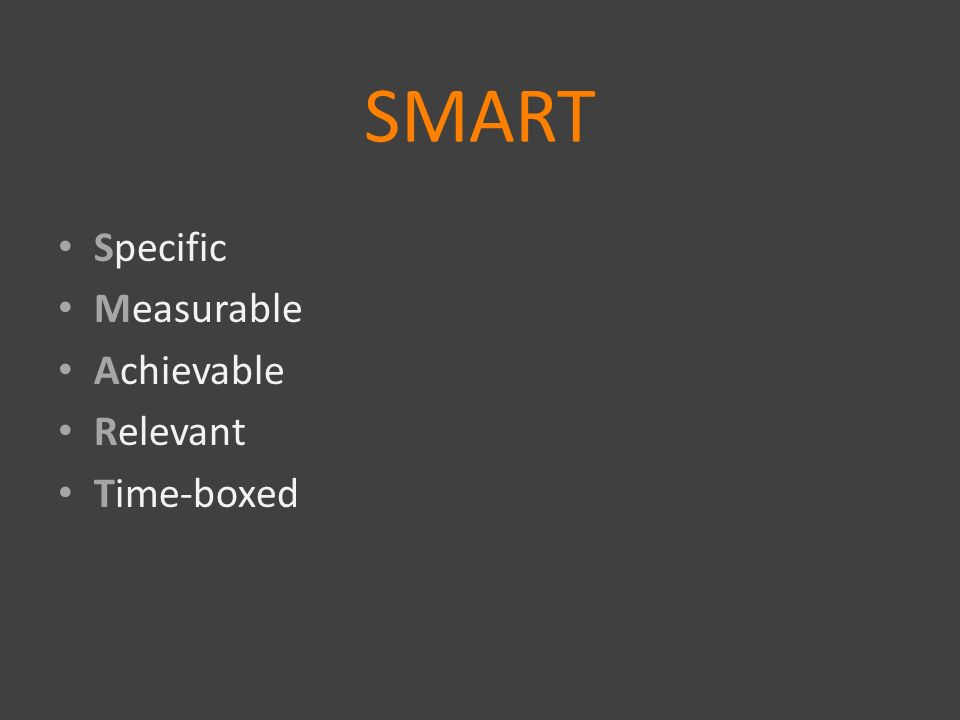 SMART Specific Measurable Achievable Relevant Time-boxed