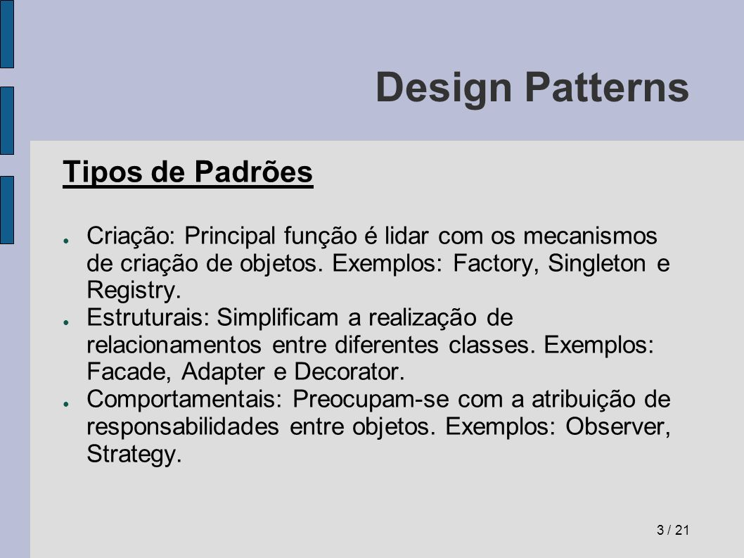 Design Patterns Tipos de Padrões