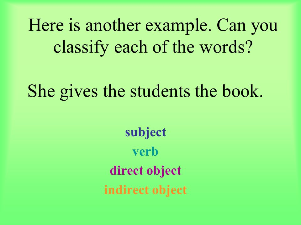 Here is another example. Can you classify each of the words