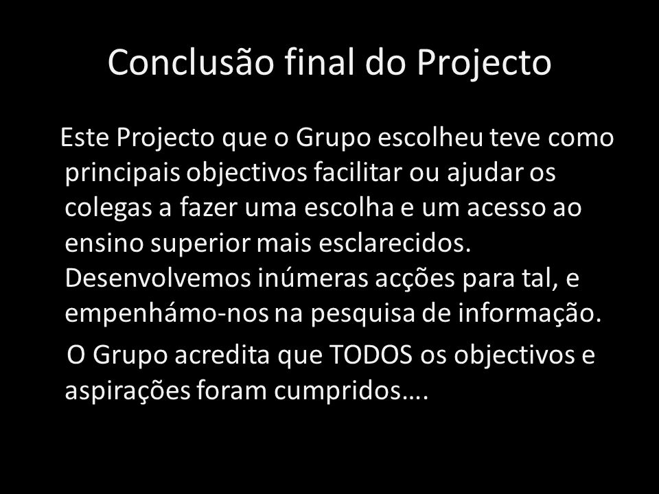 Conclusão final do Projecto