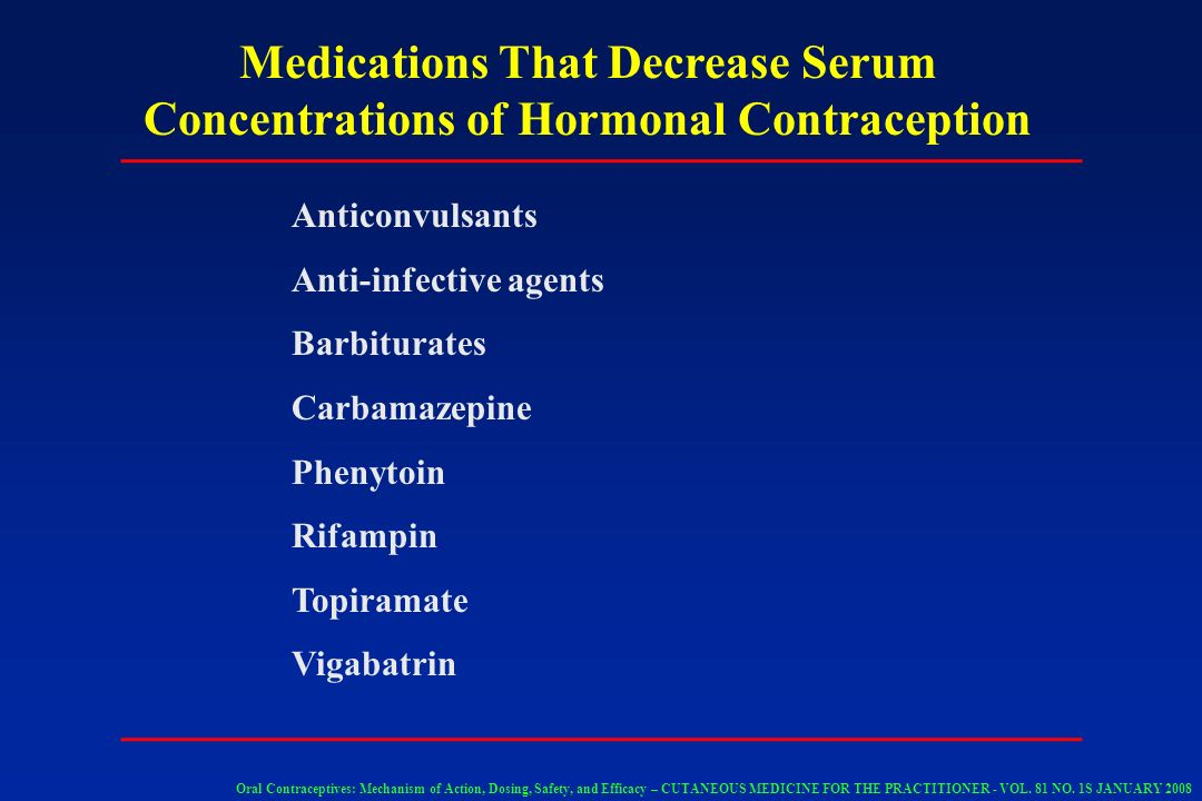 Medications That Decrease Serum Concentrations of Hormonal Contraception