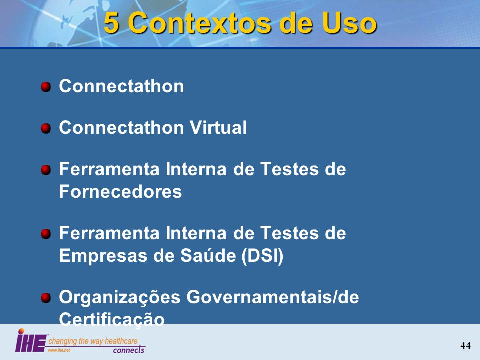 5 Contextos de Uso Connectathon Connectathon Virtual