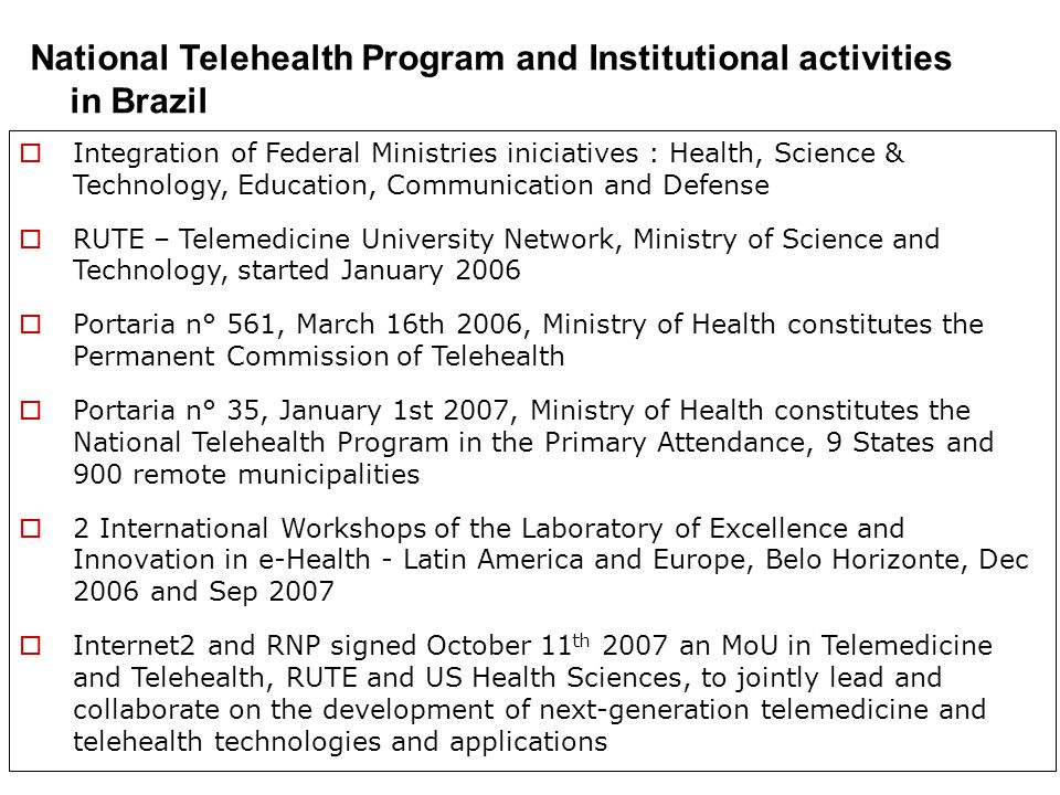 National Telehealth Program and Institutional activities in Brazil