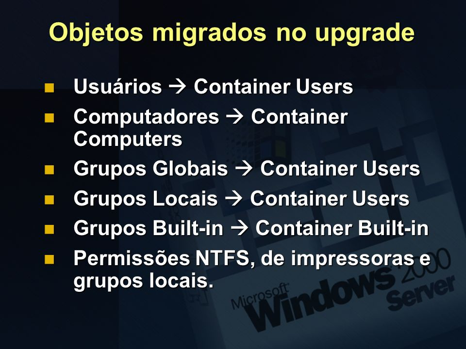 Objetos migrados no upgrade