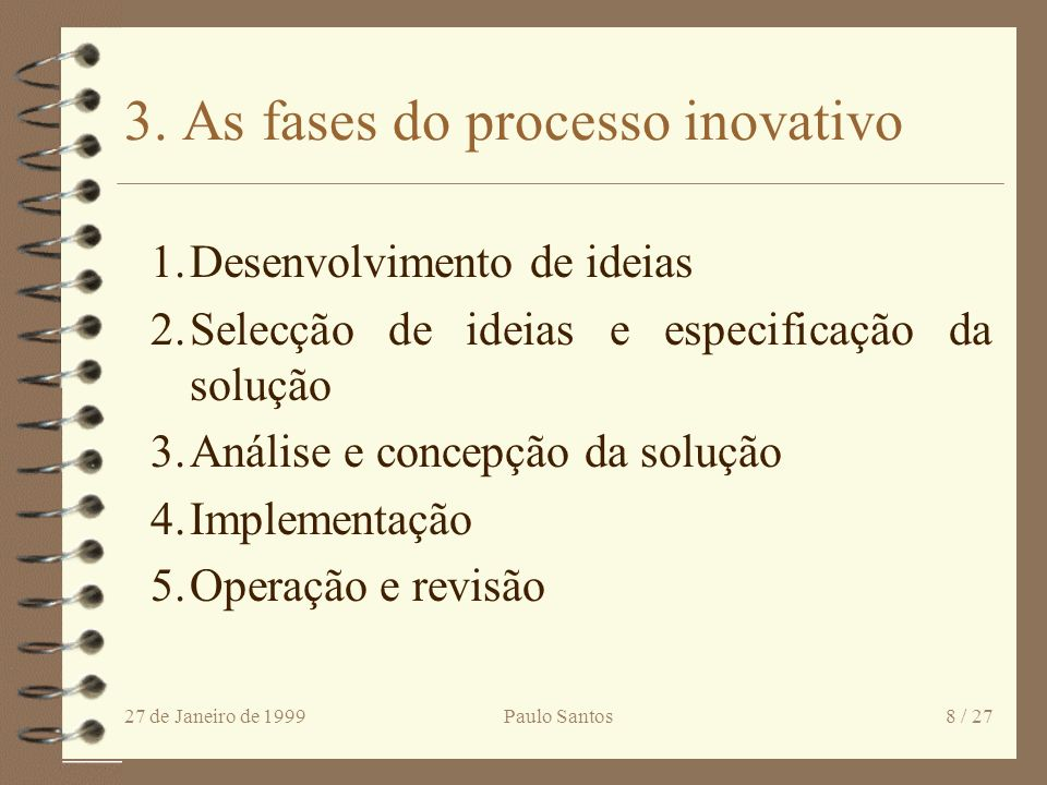 3. As fases do processo inovativo