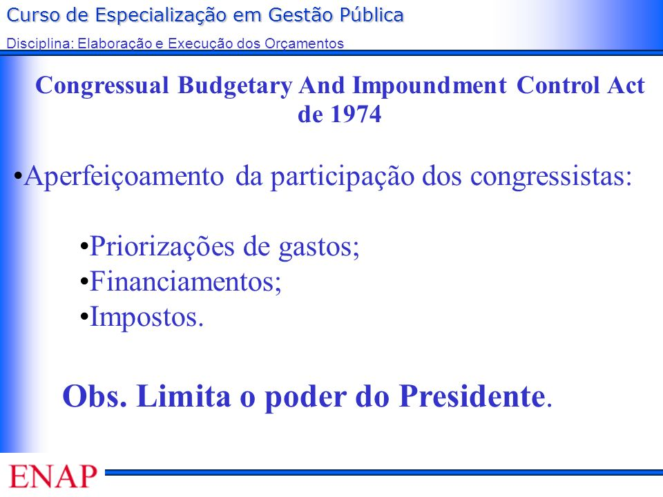 Congressual Budgetary And Impoundment Control Act de 1974