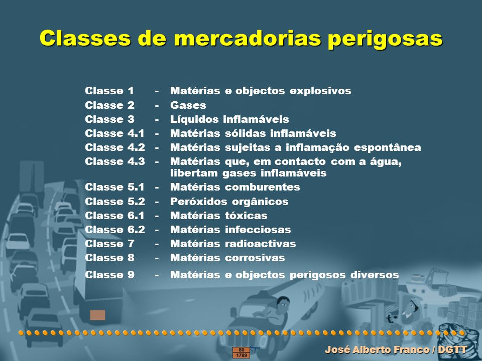 Classes de mercadorias perigosas