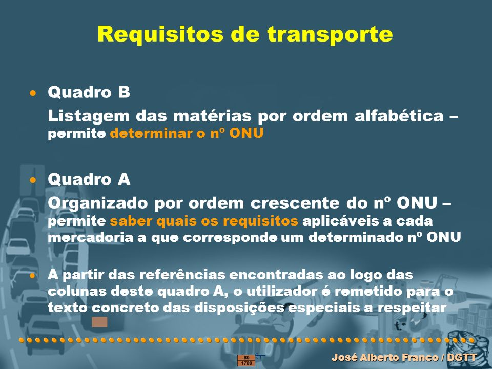 Requisitos de transporte