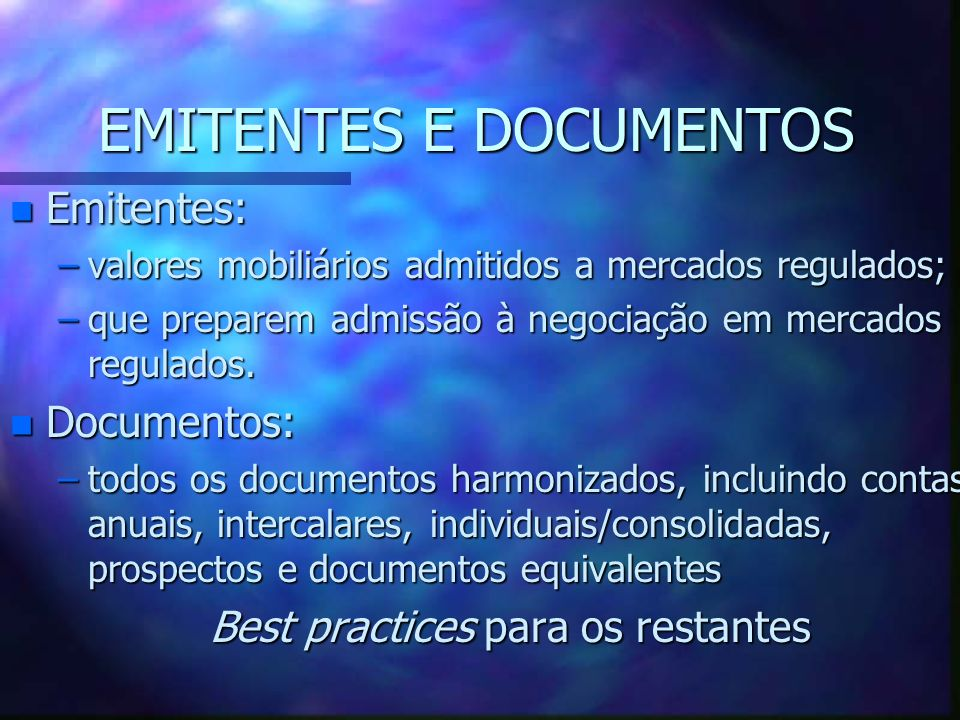 EMITENTES E DOCUMENTOS