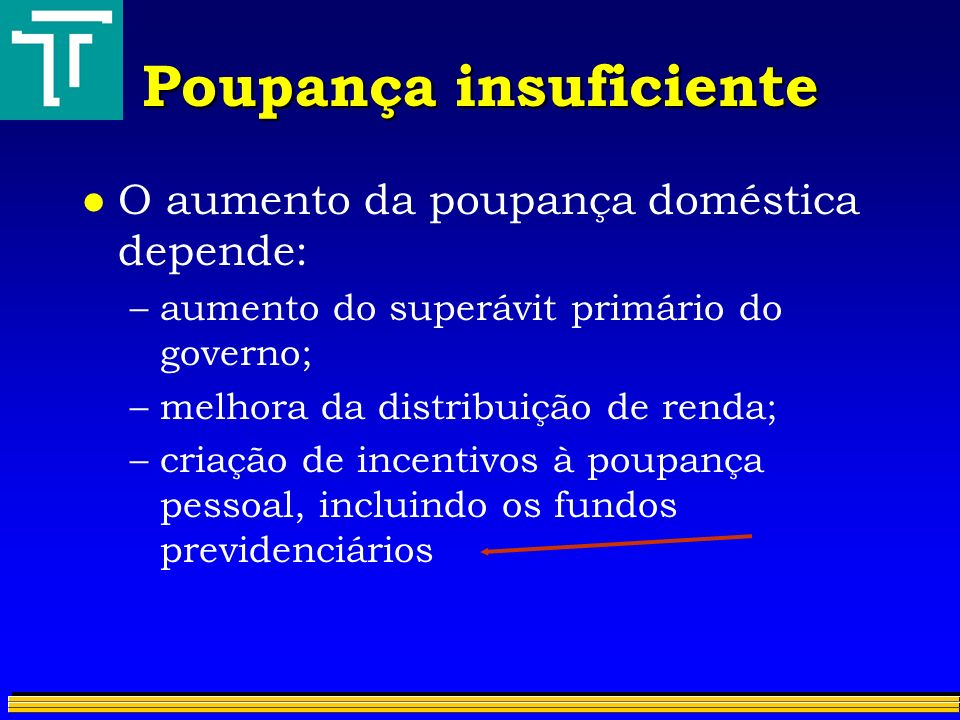Poupança insuficiente