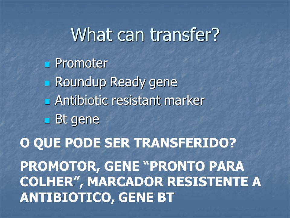 What can transfer Promoter Roundup Ready gene