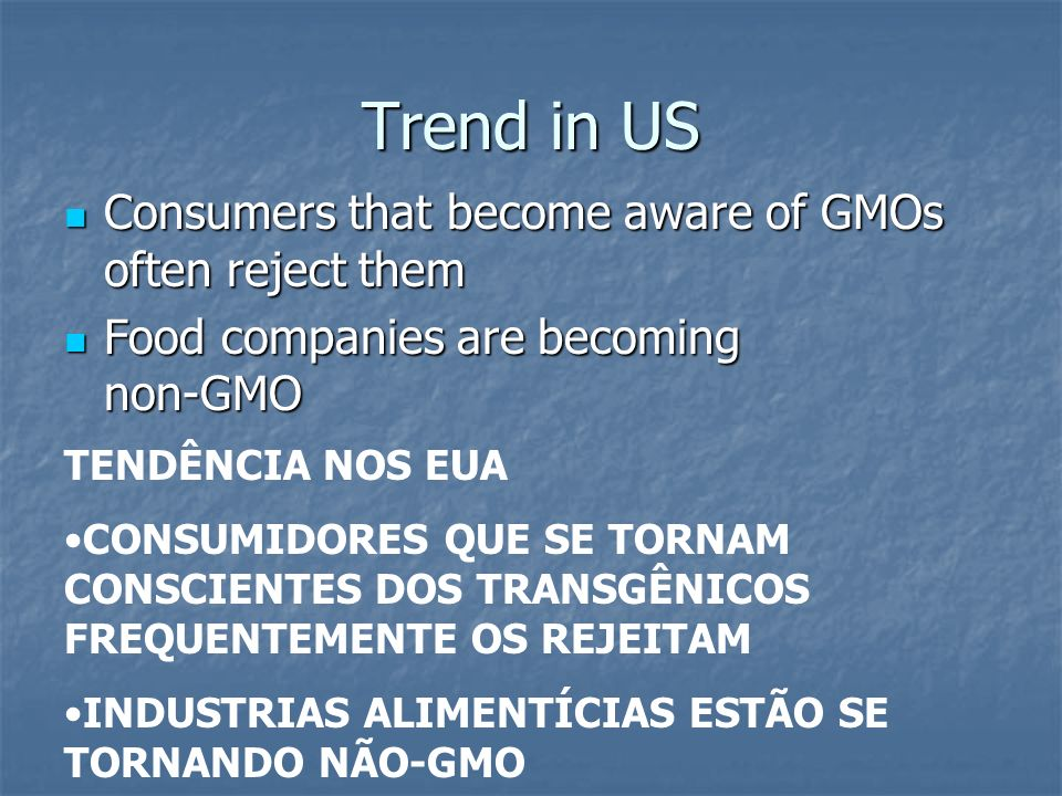 Trend in US Consumers that become aware of GMOs often reject them