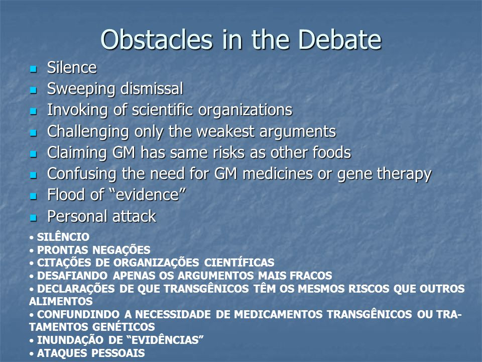 Obstacles in the Debate