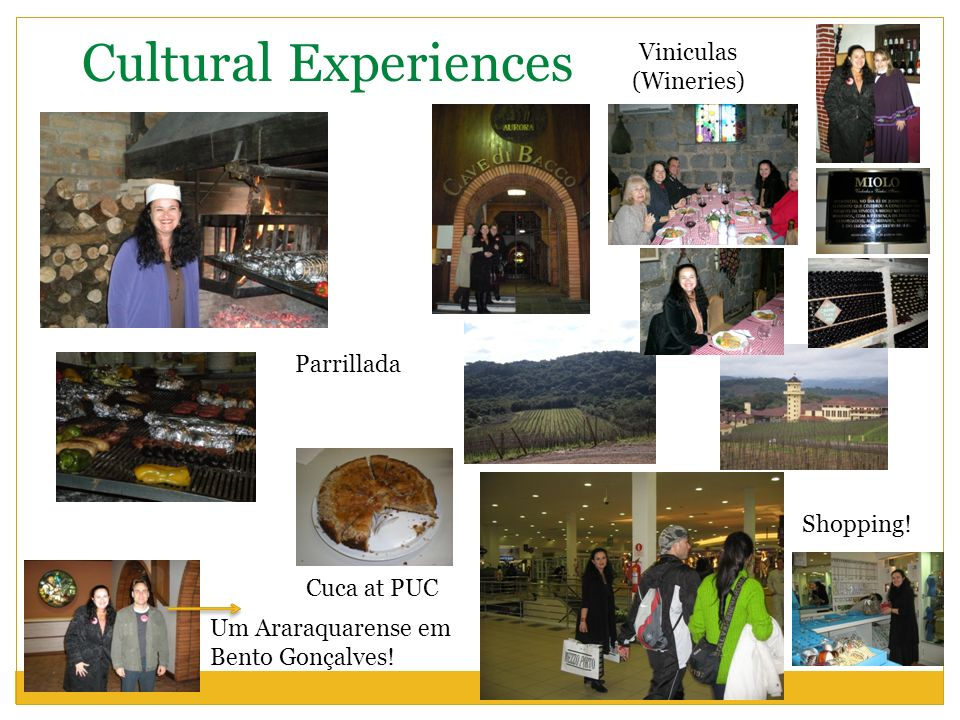 Cultural Experiences Viniculas (Wineries) Parrillada Shopping!