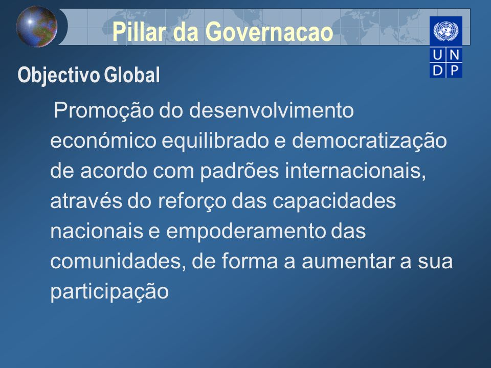 Pillar da Governacao Objectivo Global