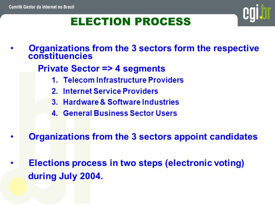 ELECTION PROCESS Organizations from the 3 sectors form the respective