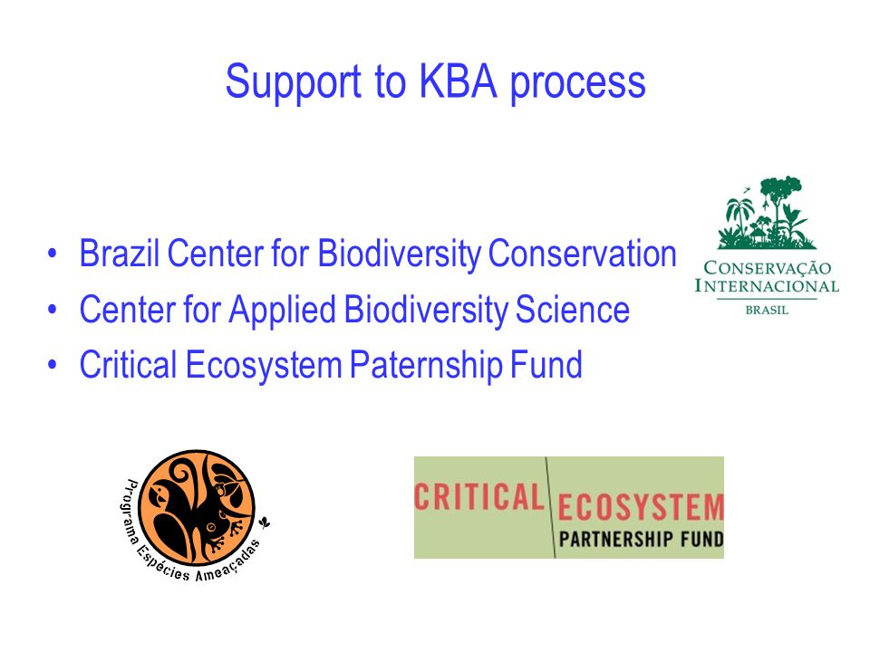 Support to KBA process Brazil Center for Biodiversity Conservation