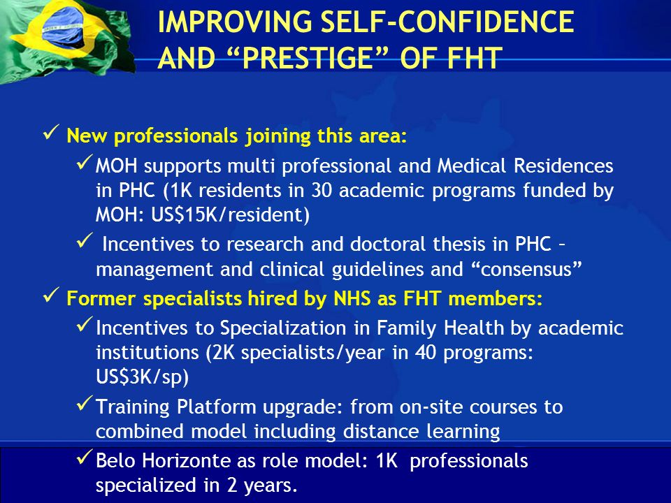 IMPROVING SELF-CONFIDENCE AND PRESTIGE OF FHT