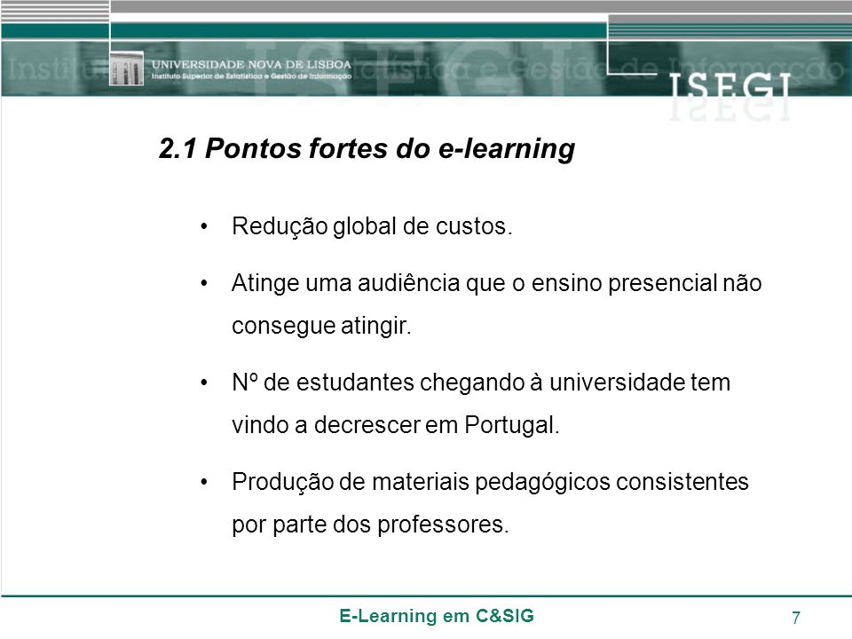 2.1 Pontos fortes do e-learning
