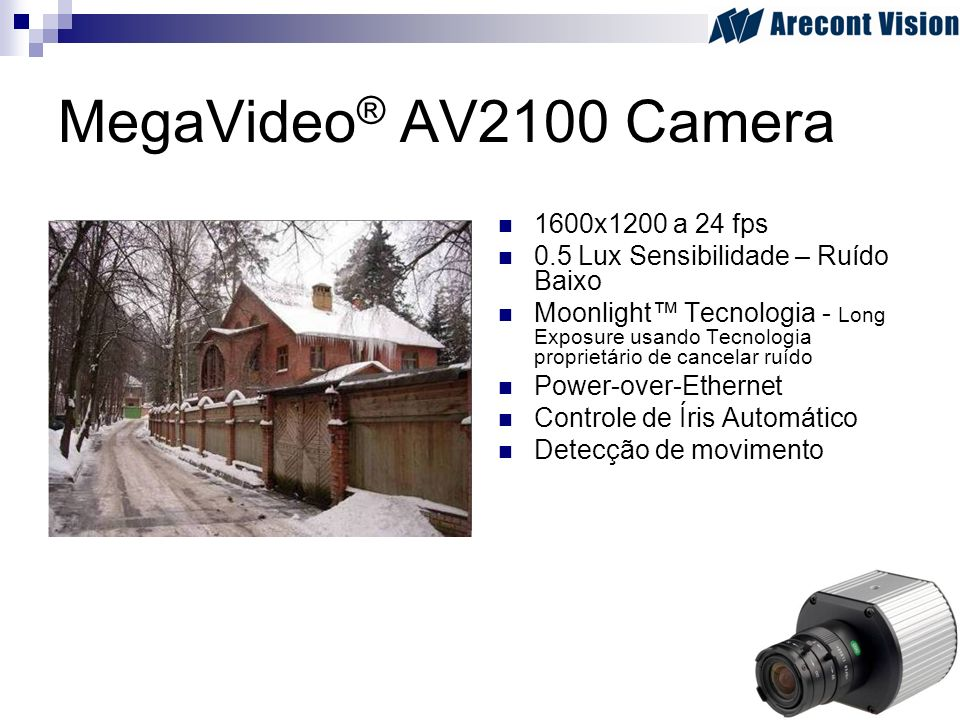 MegaVideo® AV2100 Camera 1600x1200 a 24 fps
