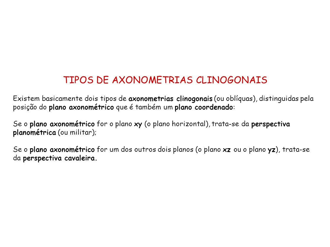 TIPOS DE AXONOMETRIAS CLINOGONAIS