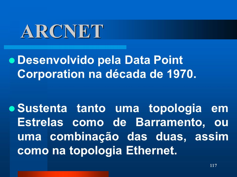 ARCNET Desenvolvido pela Data Point Corporation na década de 1970.