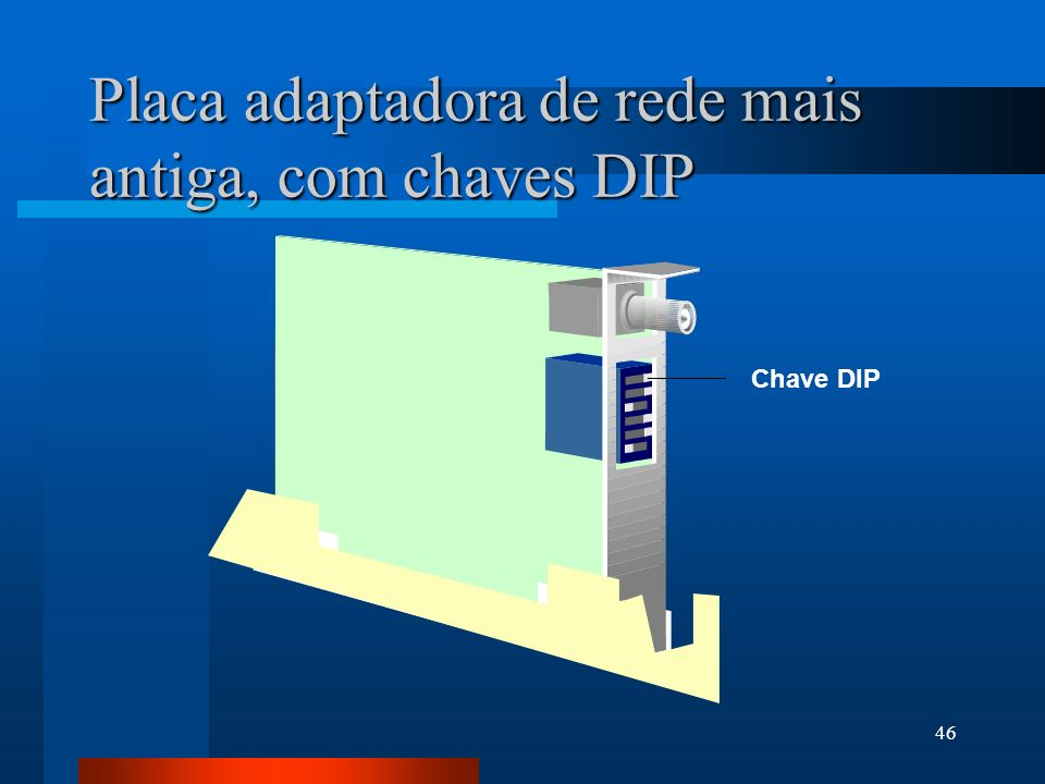 Placa adaptadora de rede mais antiga, com chaves DIP