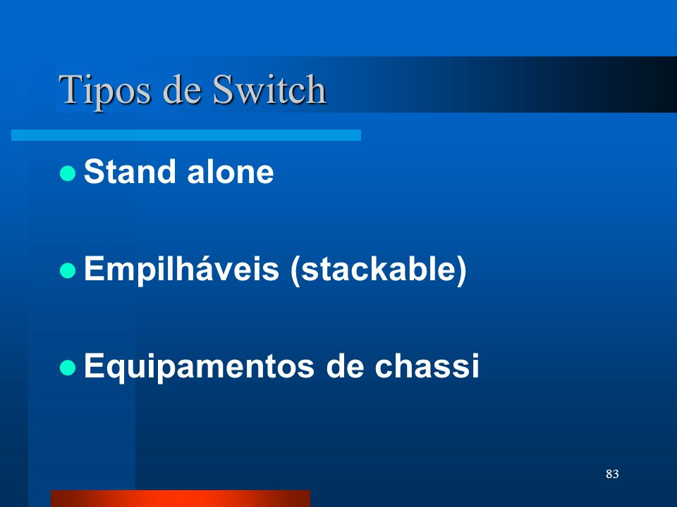 Tipos de Switch Stand alone Empilháveis (stackable)