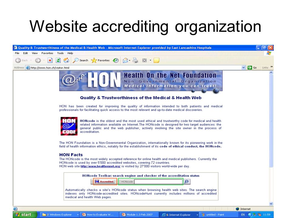 Website accrediting organization
