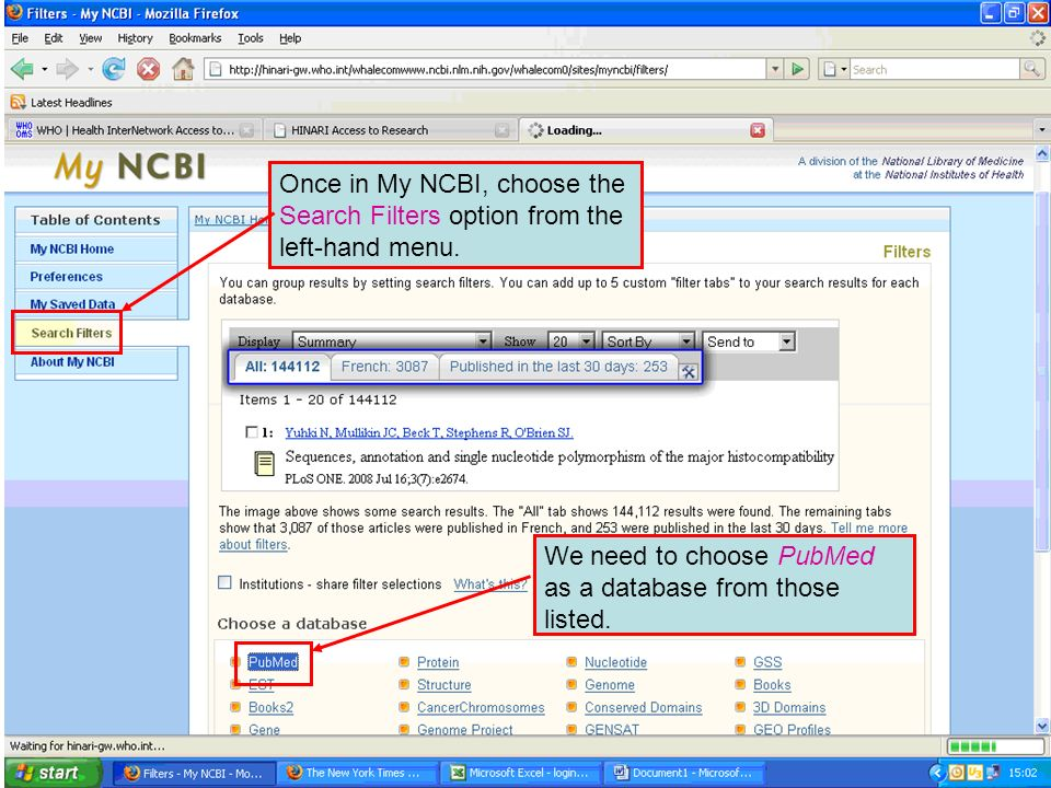 Once in My NCBI, choose the Search Filters option from the left-hand menu.