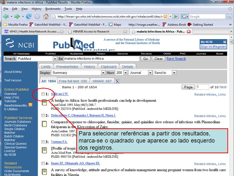 Selecting references To select references from the results list you need to check the box on the left-hand side near the top of each record.