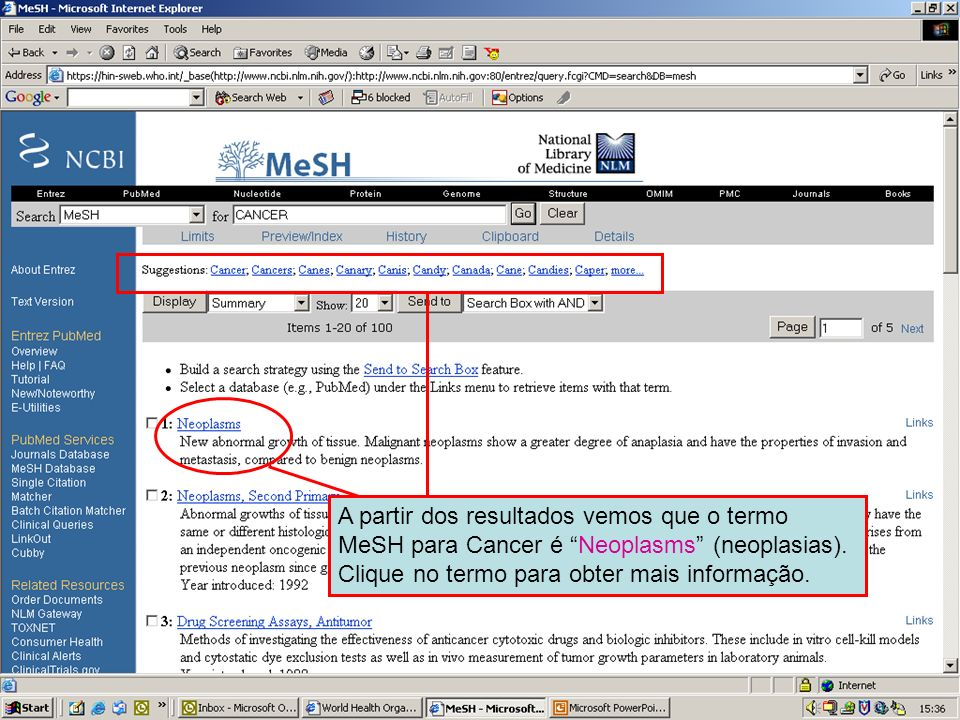 MeSH search results From these results we see that the MeSH term for Cancer is Neoplasms . Click on the linked term for more information.